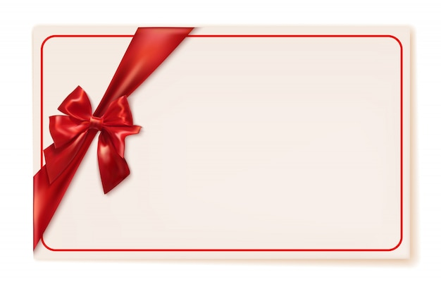 Gift card with red ribbon and bow with copyspace. vector illustration
