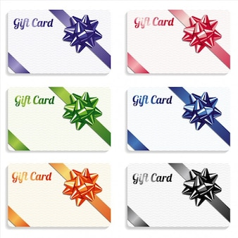 Gift card with ribbon different color set