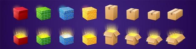 Scatole regalo e di cartone per il design del gioco gui set di cartoni animati vettoriali di pacchi regalo colorati con re...