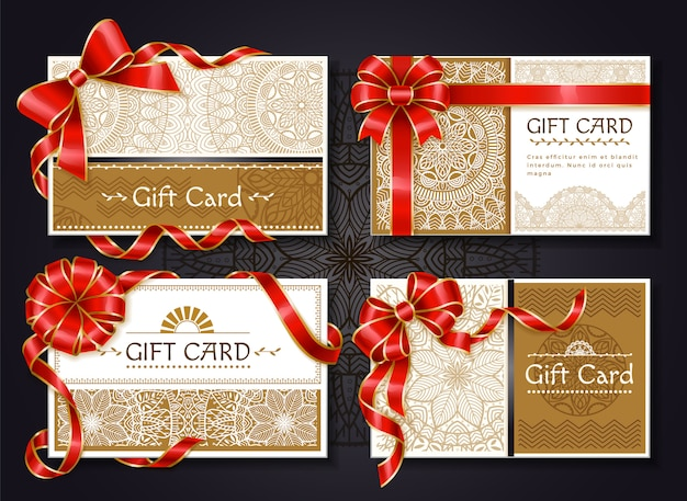 Gift cards and certificates with red ribbons set