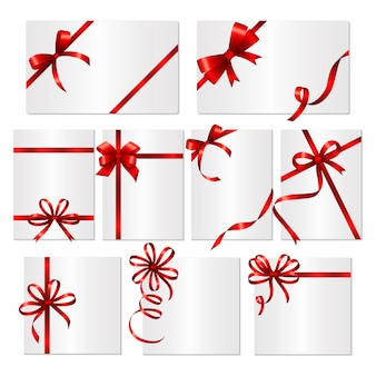 Gift cards ribbons. frames or banners with red silk ribbons and bows template