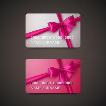 Подарочные карты с розовым бантом и лентой