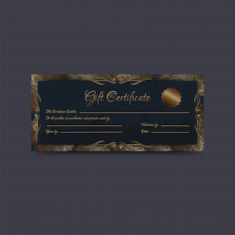 Gift certificate or coupon, voucher layout decorated with motifs