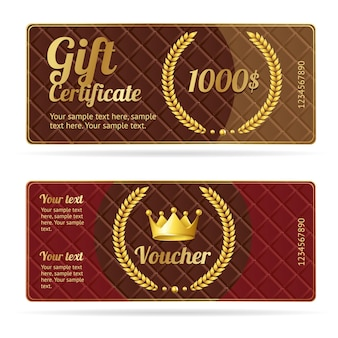 Gift certificate voucher. coupon template with wreath and crown.