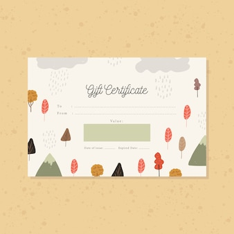 Gift certificate with autumn rain forest