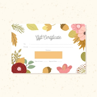 Gift certificate with floral autumn background