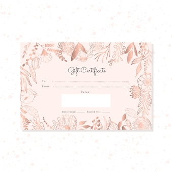Gift certificate with hand drawn rose gold floral background