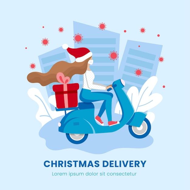 Доставка подарков на рождество, сервис бесконтактных покупок с коронавирусом. курьер в медицинской маске.