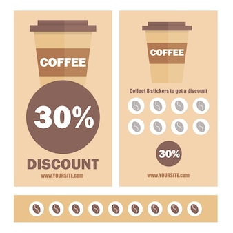 A gift coffee voucher or discount coupon. vector flat voucher template. promotion coupons with stickers