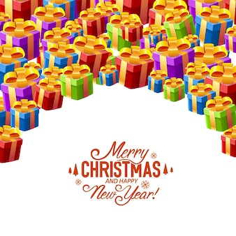 Gift collage cover merry christmas. vector illustration Premium Vector
