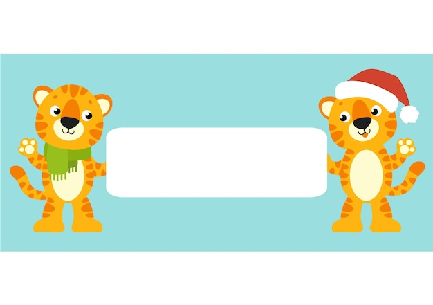 Gift color greeting card tiger simbol in a santa hat happy new year and merry christmas