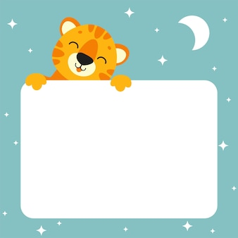 Gift color greeting card tiger sleep animal holding white blank poster