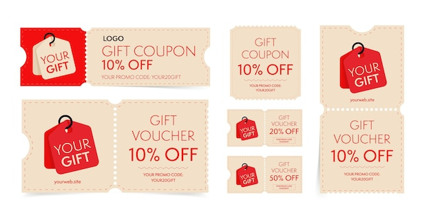 Gift coupon and voucher with promo code on discount set. vintage tear-off shopping ticket, gift card with sale