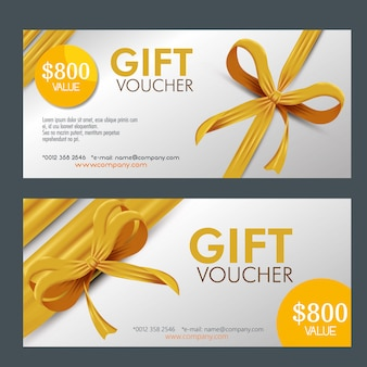 Gift coupons pack with ribbon Free Vector