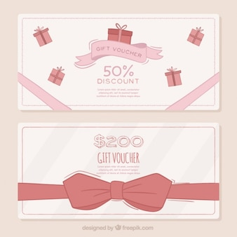 Gift coupons with bow in vintage design