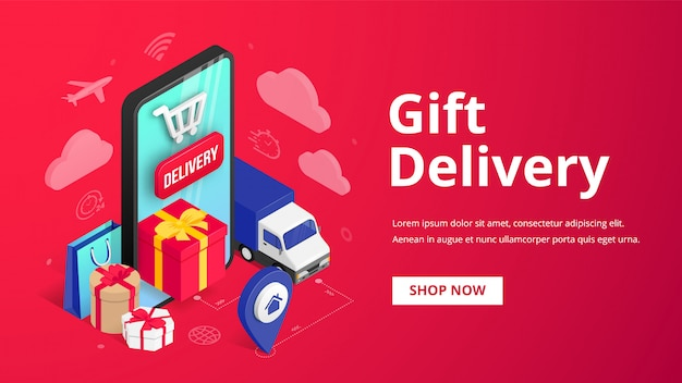 Gift delivery isometric banner concept with smartphone, gift box, truck, pin, text on red background. holiday online store order shipping service 3d design.  illustration for web, mobile app, ad