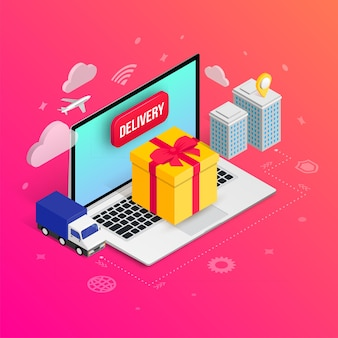Gift delivery isometric concept with laptop, gift box, truck, city buildings on gradient background. holiday online shipping service 3d design. illustration for web, mobile app, ad