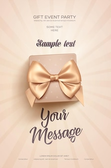 Gift event party greeting poster with beige gift box and golden bow