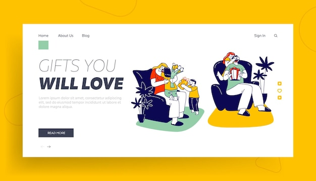 Gift from child landing page template. happy kids greeting mother giving flowers and present