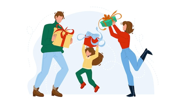 Gift holding family and celebrate holiday vector. gift boxes hold father, mother and daughter. happy characters getting festive present on christmas or birthday party flat cartoon illustration