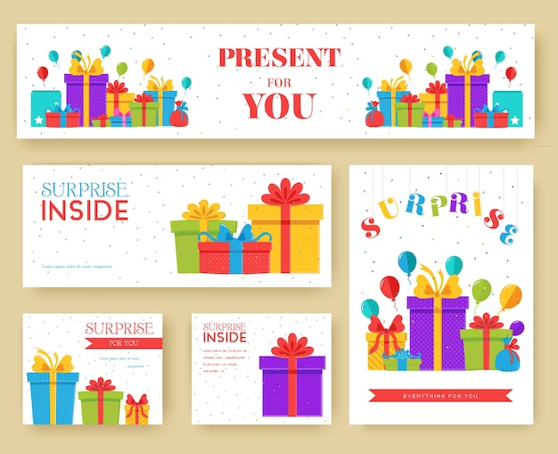 Gift information cards set. surprise template of flyear, magazines, posters, book cover, banners.