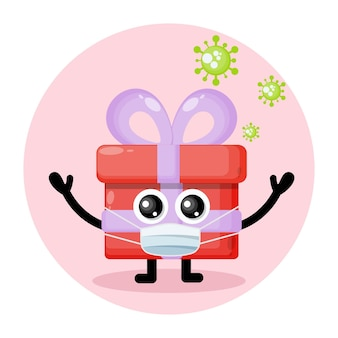 Gift mask virus cute character logo