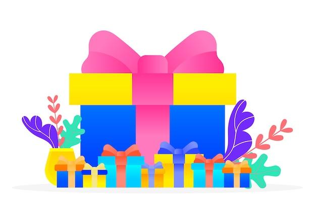 特別な日への贈り物。包装紙と装飾的な弓が上にある箱の中に孤立して存在します。