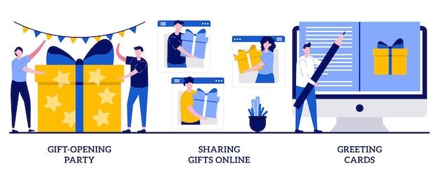 선물 오프닝 파티, 온라인 선물 공유, 작은 사람들과 인사말 카드 개념