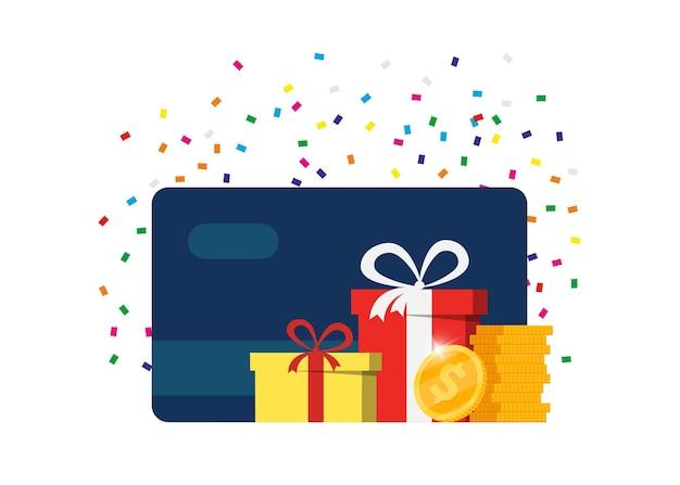 ギフトまたはボーナスカード。ロイヤルティポイントを獲得し、オンライン報酬を受け取ります。カスタマーサービス事業の広告。マネーコインのキャッシュバック、賞金プログラム、追加料金または手当の支払いの概念。 eps