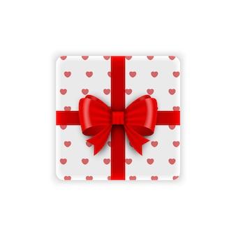 Подарочная или подарочная коробка с красным бантом