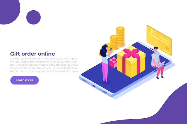 Gift order online, online shopping,  e commerce concept. people buy gifts. vector illustration