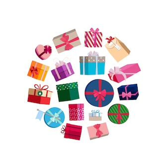 Gift packages and boxes with colorful wrapping round . box with gifts