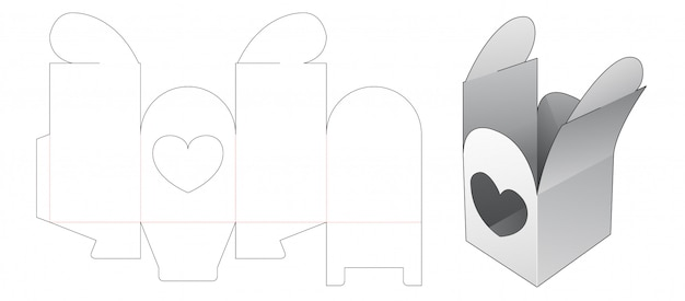 Gift packaging box with heart window die cut template