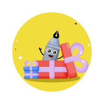 Gift pen cute character logo