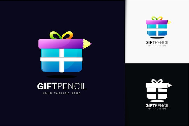 Gift pencil logo design with gradient