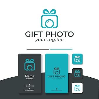 Gift photo logo design ribbon band camera Premium Vector