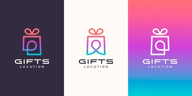 Gift and pin location logo combination. unique surprise and logotype design template