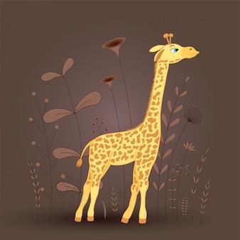 Gift postcard with cartoon animal giraffe.