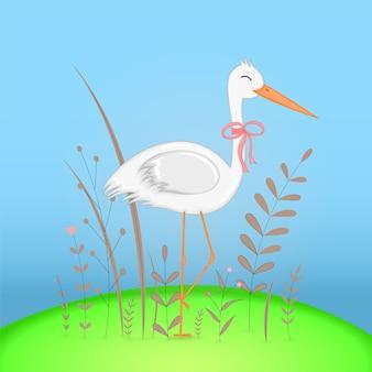 Подарочная открытка с мультяшным животным слоном. декоративный цветочный фон с ветвями и растениями.