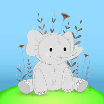Gift postcard with cartoon animals elephant. decorative floral background with branches and plants.