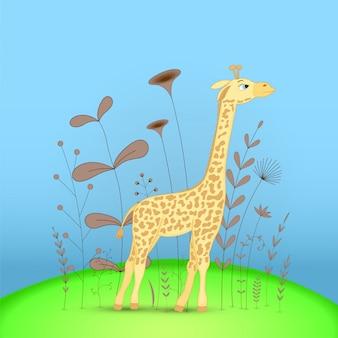 Gift postcard with cartoon animals giraffe.