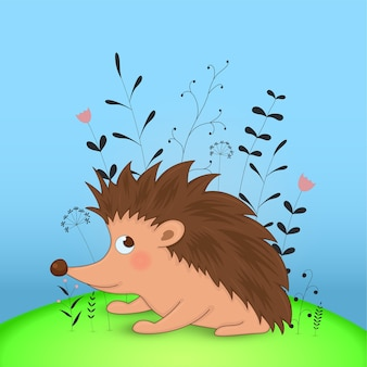 Gift postcard with cartoon animals hedgehog. decorative floral background with branches and plants.