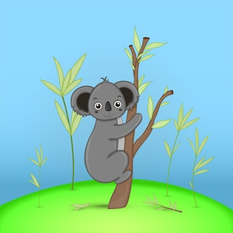 漫画の動物コアラのギフトはがき。枝や植物と装飾的な花の背景。