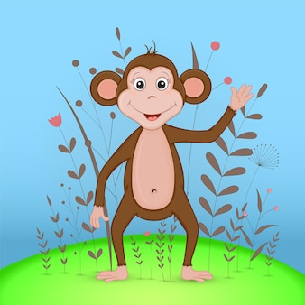 Gift postcard with cartoon animals monkey. decorative floral background with branches and plants.