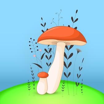 만화 동물 버섯 선물 엽서입니다. 분기와 식물 장식 꽃 배경입니다.