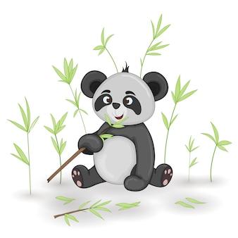漫画の動物のパンダのギフトはがき。枝や植物の装飾的な花の背景。
