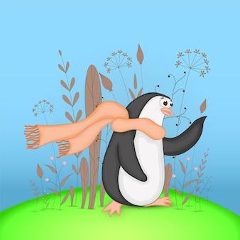 漫画の動物のペンギンとギフトはがき。枝や植物と装飾的な花の背景。