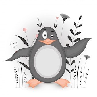 Gift postcard with cartoon animals penguin. decorative floral background with branches and plants.