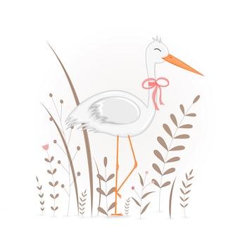 Gift postcard with cartoon animals stork.