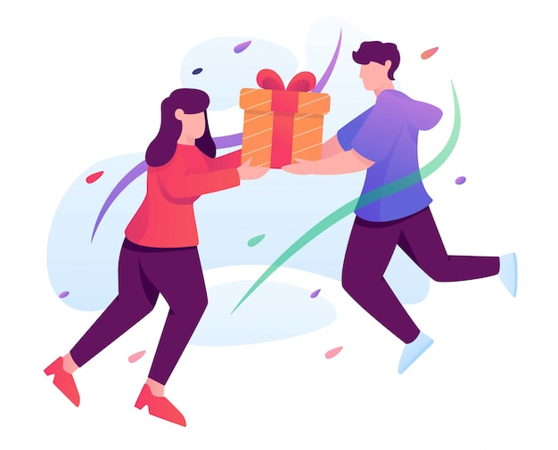Gift present man to girl flat illustration